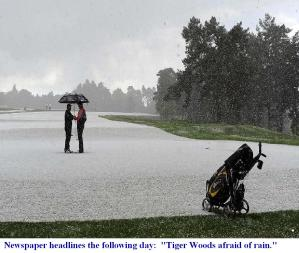 RAIN and HAIL -- GOLF COURSE as PGA golfers stop play (Hindhead, England; May 2013)