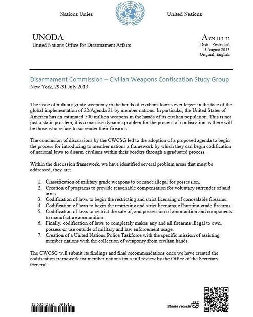 Memo dated 8/5/2013 - UN Office for Disarmament Affairs - TOTAL GUN CONFISCATION in America