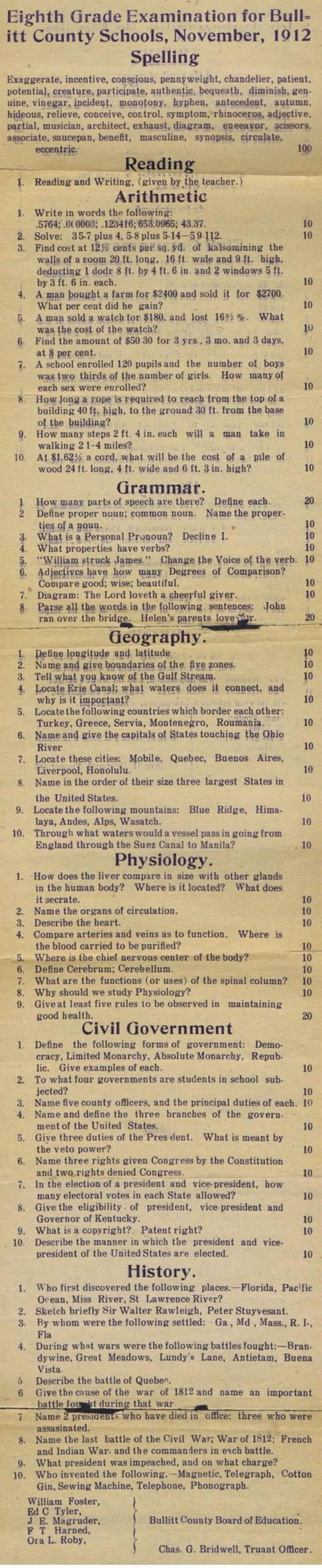 EIGHTH GRADE EXAM (Bullitt County, Kentucky), November 1912 So, you think YOUR CHILDREN as so SMART ???????  Then take a look at this . . .