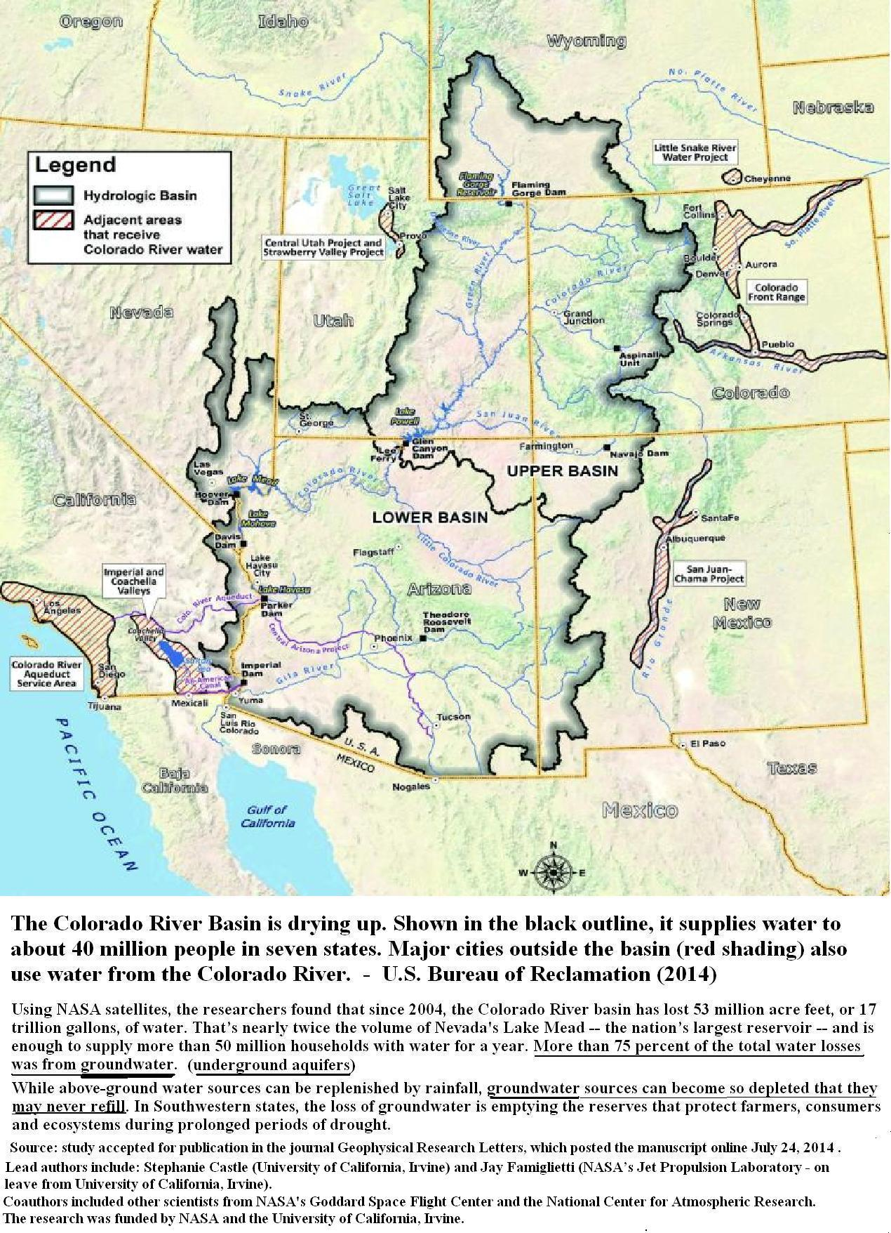 Colorado River Basin Including Underground Aquifers Drying Up - Map of aquifers in the us