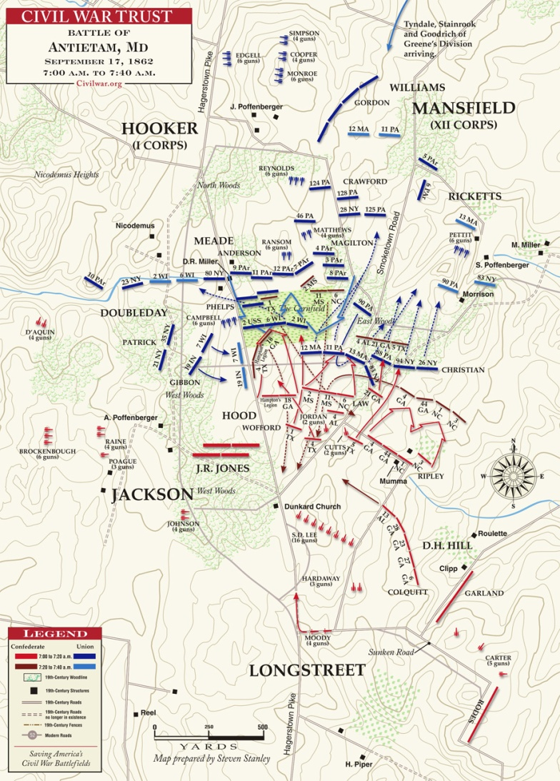 Antietam__Later_Fight_for_Cornfield__7AM_to_7-40AM___MAP_1