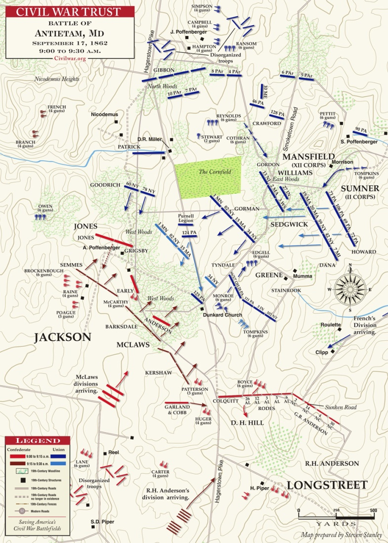 Antietam__West_Woods__9AM_to_12Noon___MAP_1