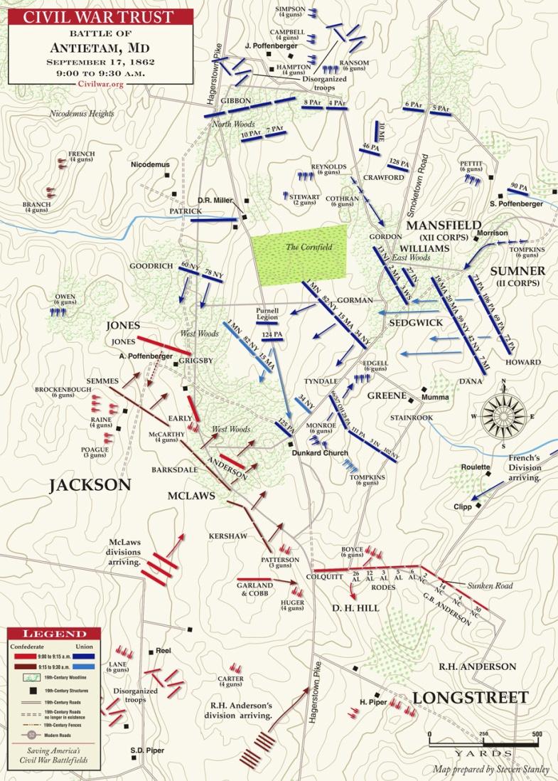 Antietam__West_Woods__9AM_to_12Noon___MAP_1