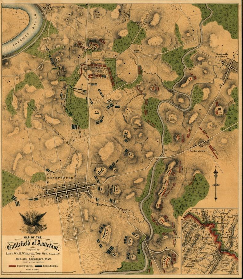 Antietam_Battlefield__Historical_by_Lt_William_Willcox_1862___Map_1